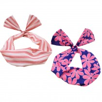 Girl's Pretty Cute Rabbit Ear Twist Bow DIY Wire Headband Hair Ribbon(2pc),O