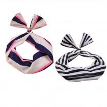 Girl's Pretty Cute Rabbit Ear Twist Bow DIY Wire Headband Hair Ribbon(2pc),P