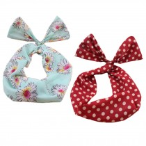 Girl's Pretty Cute Rabbit Ear Twist Bow DIY Wire Headband Hair Ribbon(2pc),Q