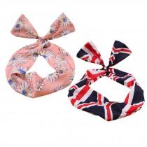 Girl's Pretty Cute Rabbit Ear Twist Bow DIY Wire Headband Hair Ribbon(2pc),R
