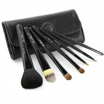 Beginner 7-Pcs Black Portable Cosmetic Brush Kit Makeup Brushes Set+Black Case
