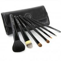 Beginner 7-Pcs Black Portable Cosmetic Brush Kit Makeup Brushes Set+Black Case