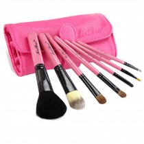 Beginner 7-Pcs Pink Portable Cosmetic Brush Kit Makeup Brushes Set+Pink Case