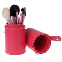 Portable 7-Pcs Barrelled Cosmetic Brush Kit Makeup Brushes Set-Pink
