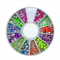 3D Design Nail Art Different DIY Nail Art Diamond Stud Wheel Manicure, P