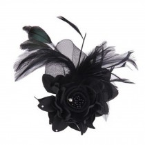 Ladies Retro Pin Brooches Hair Decor Feather And Cloth Flower Brooches, Black