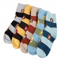 Set of 5 Pairs Women Autumn/Winter Thicken Warm Cute Cotton Socks Lion