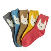 Set of 5 Pairs Women Autumn/Winter Thicken Warm Cute Cotton Socks Rabbit