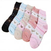 Set of 5 Pairs Women Autumn/Winter Thicken Warm Cute Cotton Socks Bear