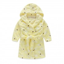 Kids Hooded Plush Robe Soft Bathrobe Cartoon Bathrobe Warm Robe Yellow Star