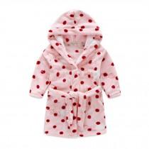 Kids Hooded Plush Robe Soft Bathrobe Cartoon Bathrobe Warm Robe Pink Dot