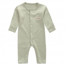 Soft Cotton Infant Coverall Long Sleeve Baby Bodysuit Baby Clothes, Pea green