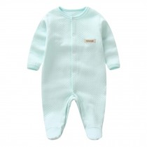 Breathable Autumn Bodysuit Feet Cover Bodysuit Infant Coverall, Mint green