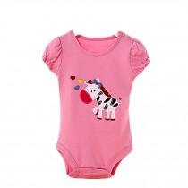 Baby Organic Pure Cotton Summer Short Sleeve Bodysuit to 12M Elephant Pink
