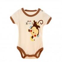 Baby Organic Pure Cotton Summer Short Sleeve Bodysuit to 12M Monkey Beige