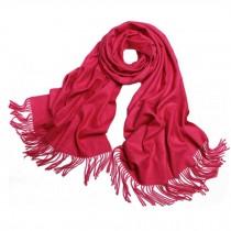 Girls Elegant Scarf Comfortable Scarves Shawl Wrap Solid Color, Rose red