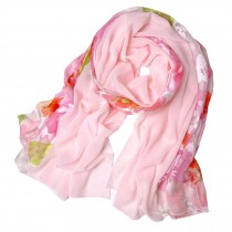 Womens Elegant Scarf Comfortable Scarves Shawl Wrap Flower, Pink