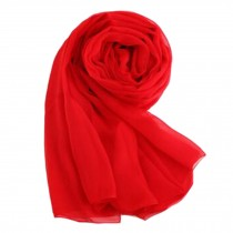 Oversized Silk Scarf Shawl Wrap Scarves Neckerchief Solid Color, Red