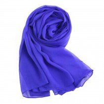 Oversized Comfortble Silk Scarf Shawl Wrap Scarves Neckerchief Solid Color, Blue