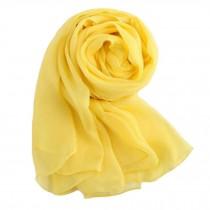 Comfortable Silk Scarf Shawl Wrap Scarves Neckerchief Solid Color, Yellow