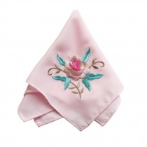 Elegant 2Pcs Ladies Handkerchief Embroidered Hanky, Peony Flower
