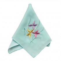 Elegant 2Pcs Ladies Handkerchief, Orchid, Light Blue