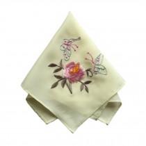 Elegant 2Pcs Ladies Handkerchief, Peony Flower And Butterfly, Light Yellow