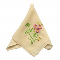 Elegant 2Pcs Bamboo Flower Ladies Handkerchief, Light Yellow