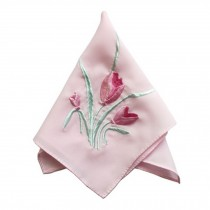 Elegant 2Pcs Tulip Flower Ladies Handkerchief, Pink