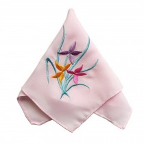 Elegant 2Pcs Ladies Handkerchief, Orchid Flower, Pink