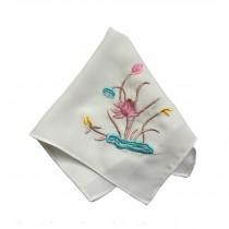 2Pcs Ladies Handkerchief Embroidered Hanky, Lotus