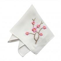 2Pcs Ladies Handkerchief Embroidered Hanky, Pink Plum Blossom