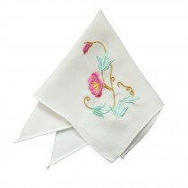 2Pcs Ladies Handkerchief Embroidered Hanky, Trumpet Flower