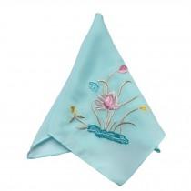 2Pcs Ladies Handkerchief Embroidered Hanky, Lotus??Light Blue