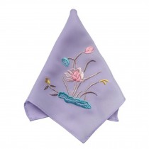 2Pcs Ladies Handkerchief Embroidered Hanky, Lotus??Purple