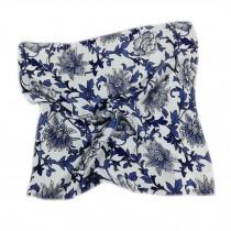 Elegant Printed Silk Handkerchief For ladies, Blue And White Porcelain