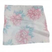Elegant Printed Silk Handkerchief For ladies, Pink Peony