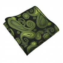 Gentlemen's Elegant Pocket Square Handkerchiefs With Beautiful Pattern, Green