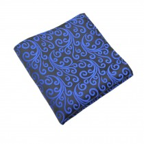Gentlemen's Elegant Pocket Square Handkerchiefs With Blue Pattern, Black