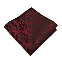 Gentlemen's Elegant Pocket Square Handkerchiefs With Red Pattern, Black