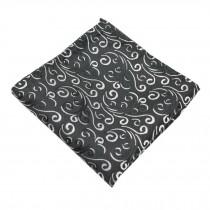 Gentlemen's Elegant Pocket Square Handkerchiefs With Beautiful Pattern, Black