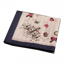 Cotton Handkerchief with Decorative Pattern,A Series Of Eall,Blue