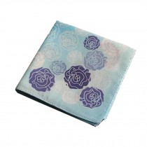 Cotton Handkerchief with Decorative Pattern,A Series Of Rose,Blue