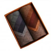 Set of 2 Men Pocket Square 100% Cotton Soft Plaid Handkerchiefs ,Brown/Blue