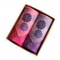 Set of 2 Women Handkerchiefs 100% Cotton Soft Rose Handkerchiefs,Pink/Purple