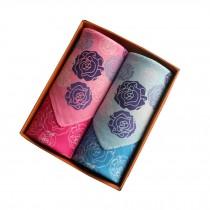 Set of 2 Women Handkerchiefs 100% Cotton Soft Rose Handkerchiefs,Pink/Blue