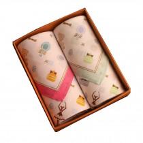Set of 2 Women 100% Cotton Soft Fairy Tale World Handkerchiefs,Green/Pink