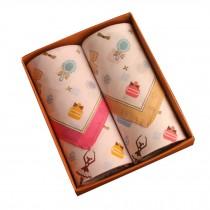 Set of 2 Women 100% Cotton Soft Fairy Tale World Handkerchiefs,Beige/Pink