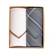 2Pcs Mens Pocket Square Hanky Pure Cotton Soft Handkerchiefs,Brown Praid/Grey