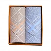 2Pcs Mens Pocket Square Hanky Pure Cotton Soft Handkerchiefs,Blue/Coffee